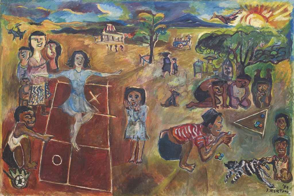 Sudjana Kerton (Indonesian, 1922–1994), Anak-Anak Bermain (Children at Play) , 1989. Oil on canvas.
