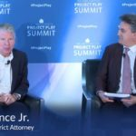 Whole Child Sports co-founder Luis Fernando Llosa interviews Manhattan DA Cy Vance for the Aspen Institute's 2018 Project Play Summit at The Knight Foundation Washington, D.C.